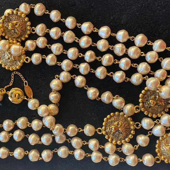 """Gold Tone  Long Chain with Faux Pearls wrapps 72/"""" Banana Republic NWT"""